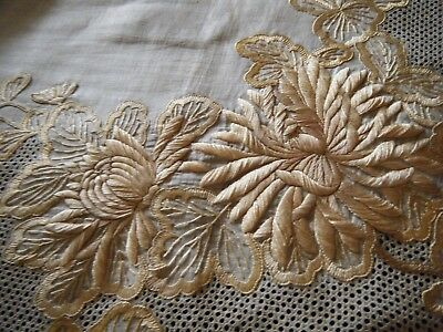 19c Antique Tablecloth Dresden embroidery &drawnwork HD museum inventory tag