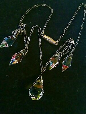 Art Deco Faceted Iris Glass Beads crystal dangle drop fine link Necklace