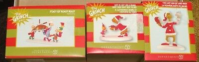 Department 56 LOT OF 3 Grinch Village Dr. Seuss Accessories Retired All NIB