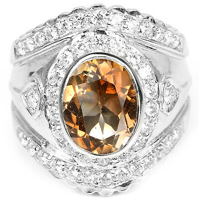 _LDN_  Bague Topaze Champagne Imperiale  _Argent 925_T 53/54