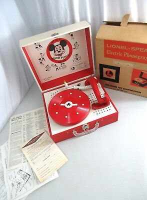Vtg Lionel Toy Mickey Mouse Club Children's Record Player NOS in Box Works EX!!