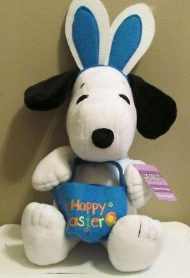 Peanuts Snoopy Easter Plush 2014 w/Sound, Bunny Ears and Easter Basket Blue New