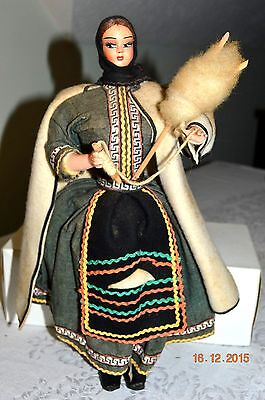 """vintage character doll Greek girl with spinning stick 14"""" tall"""