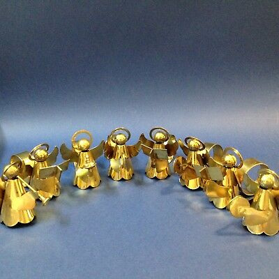 Set x 8 - Christmas Angel Musicians Napkin Ring Holders - Gold Tone Metal