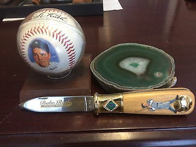 Babe Ruth Fotoball With Franklin Mint Pocket Knife