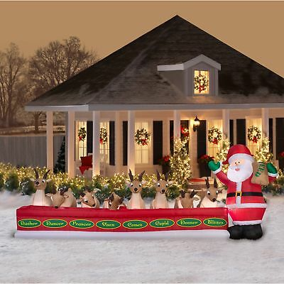 Animated Airblown Inflatables 16.5' Wide Santa Feeding 8 Reindeer By Gemmy