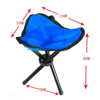 Blue Slacker Chair Foldable Tripod Camping Stool Seat Hiking Outdoor Fishing