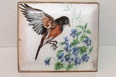 VINTAGE GUILLOCHE ENAMEL COMPACT Hand Painted Red Breast Bird & Blue Flowers