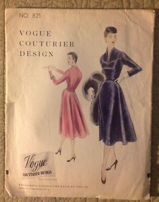 Vintage 1954 Vogue Couturier Design No. 821 Dress Sewing Pattern - Size 12