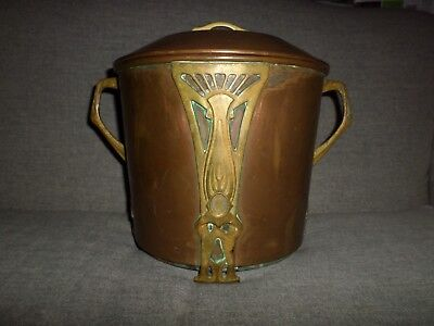 Antique French Art Nouveau Copper & Applied Brass Footed Kettle