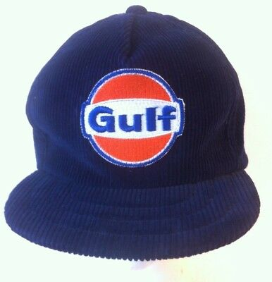 Vintage Gulf Baseball Hat Cap Blue Size L Thermal Insulation ear flaps Corduroy