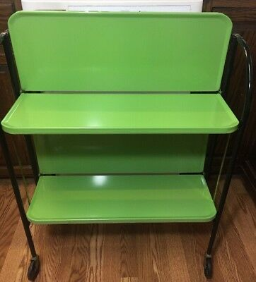 Relyon Green Folding Rolling Porcelain Enamel Metal Serving Kitchen Bar Cart