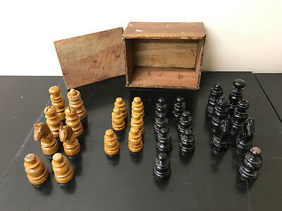 Old wooden chess pieces