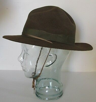 Fine Vintage Official Boy Scouts of America Olive Green Wool Felt STETSON Hat, 7