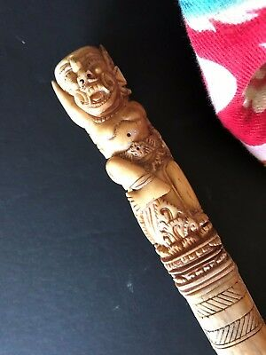 Old Lombok / Balinese Carved Pig Trap Stick …beautiful collection item
