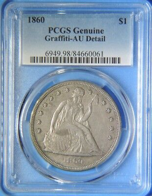 1860 P Seated Liberty Silver Dollar $1 PCGS Graded AU Detail Hard To Find