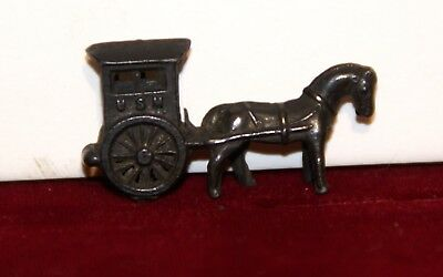 Early 1900's METAL Cracker Jack Prize Gumball Toy Black US Mail Horse & Buggy Ex