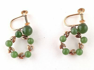 Chinese Antique 14k Yellow Gold and Green Jade Screwback Estate Wreath Earrings