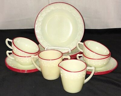 AWESOME* McKee LAUREL* 14 pc CHILD'S *IVORY w/RED TRIM* DISH SET *