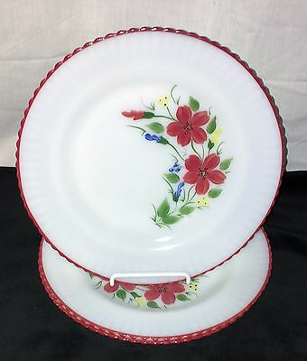 "3 Petalware Monax* Red Trim Floral*mountain Flower* 9"" Dinner Plates* Htf*"
