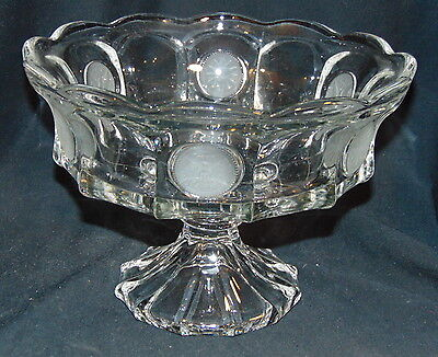 """Fostoria COIN FROSTED CRYSTAL *9"""" FOOTED BOWL*1372/199"""