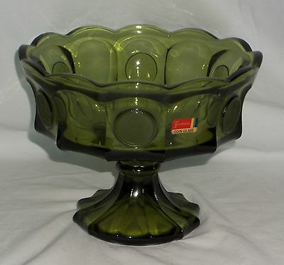 """Fostoria COIN FROSTED OLIVE GREEN *8 1/2"""" FOOTED BOWL w/STICKER*"""