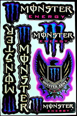 3 Sheet scooter motocross Stickers atv mx Decal Energy Rockstar BMX Bike MB army