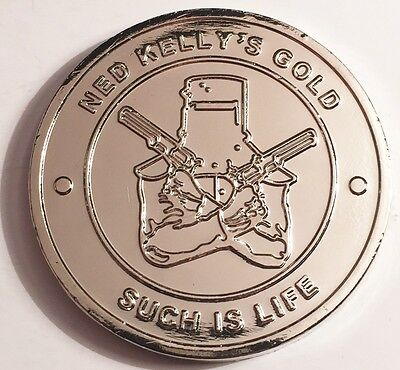"""New Ned Kelly """"Such Is Life"""" Coin/token or card weight, 999 Silver HSE Outlaw"""