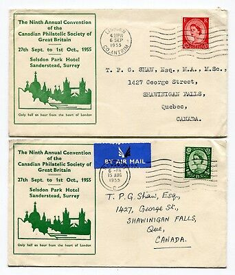 Canada 1955 CPS of GB - Canadian Philatelic Society Convention Cachet Covers x2