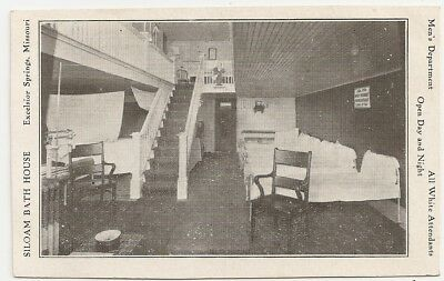 Siloam Bath House Excelsior Springs Missouri MO, all white attendants Postcard