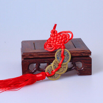 Chinese Retro Knot Red Rope Bronze Coin China Old Dynasty Antique Currency Cash
