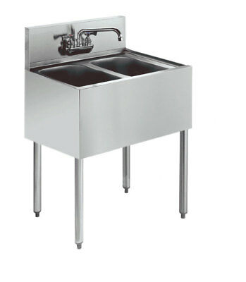 "Stainless Steel 2 Compartment Under Bar Sink 24"" x 18"" NSF"