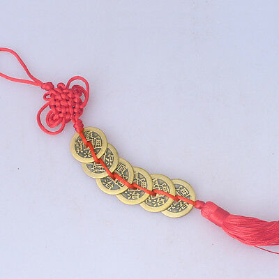 6pcs China Old Dynasty Antique Currency CashChinese Knot Red Rope Bronze Coin