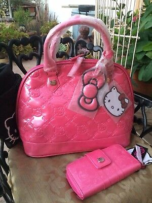 70d69eda9 Loungefly Hello Kitty Large Emboss Patent Leather Purse Pearl Pink & Wallet