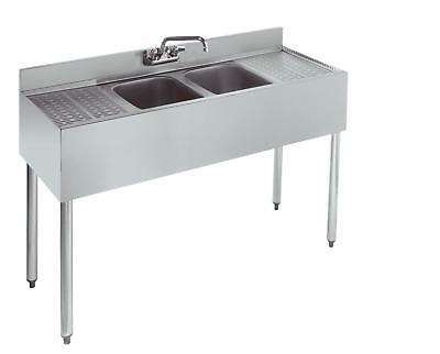 Stainless Steel 2 Compartment Under Bar Sink 48 x 18 Left and Right Drainboard