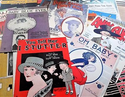 Festive Lot of Antique Vintage Sheet Music Circa 1920's Big Names Great Graphics