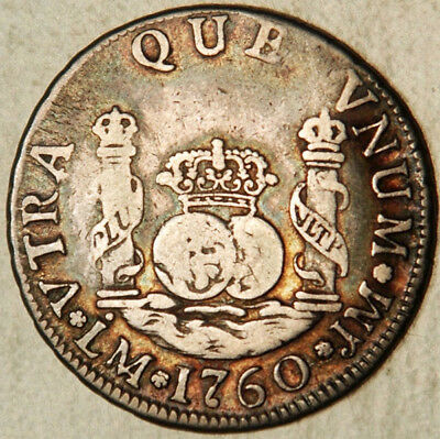 Peru Silver 2 Reales 1760 (Scarce This Nice!)