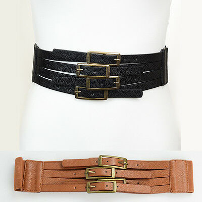 Women Western Fashion PU Leather Elastic Stretch Wide Belt Four Buckle S M L XL