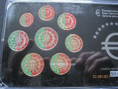 PORTUGAL 1 cent bis 2 EURO FARBE COLORIERT FARBIG KMS COLORISEE