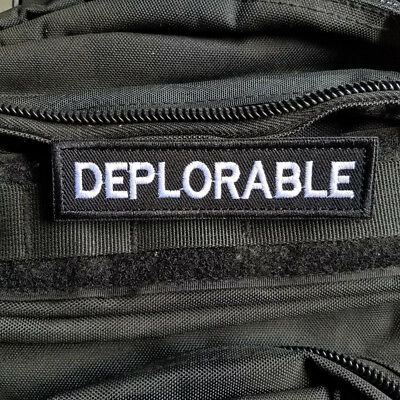Deplorable Patch Trump New Embroidered Black And White Hook Loop Patch Badge