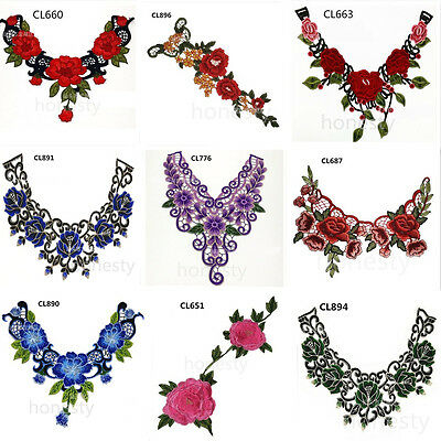 Applique Floral Embroidery Lace Trim Clothes Sewing Patch DIY Neck Collar Decor