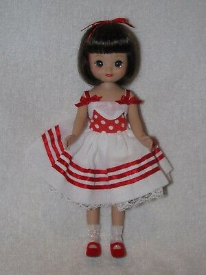 """SIGNED  By Robert Tonner 8"""" Tiny Betsy McCall Doll In Red & White Dress 2001"""