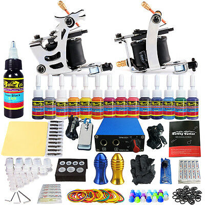 Solong Complete Tattoo Kit professional 2Machine Gun 14 Color Power Supply TK213