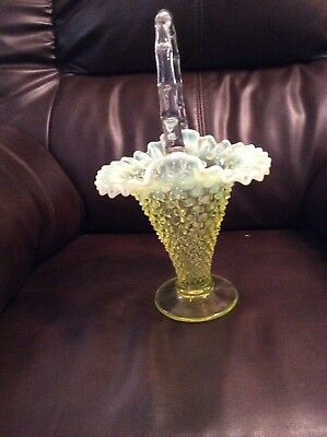 Fenton Hobnail Topaz Opalescent Scarce #389 Large Cone Shaped Basket