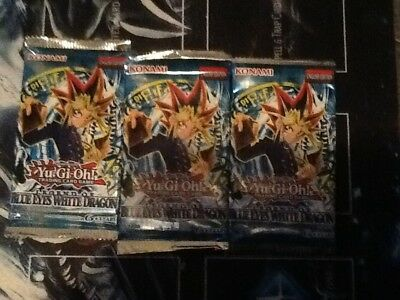 Yugioh Legend of blue eyes white dragon unlimited usa/can sealed booster pack X3