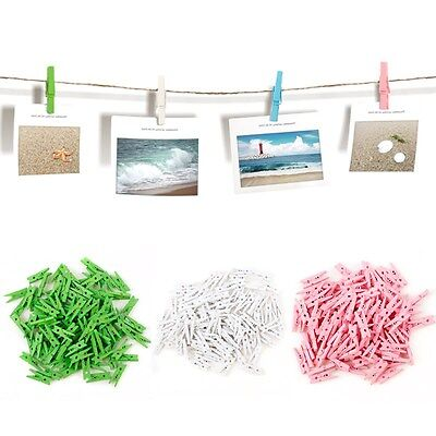 100 pcs Spring Wood memo Clips Clothes Photo Paper Craft Clips Party Decoration