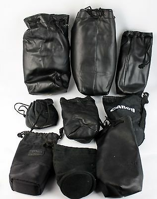 Lot of 9 Canon, Nikon, Tamron, Minolta, Vivitar  Soft Camera Lens Pouch Bag