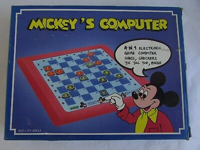 Novag Vintage Computer Electronic Chess Game Mickey Mouse 4 In One Collector Toy