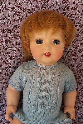 """15"""" Composition and Celluloid head baby doll K & W  298/ 7 turtle mark"""