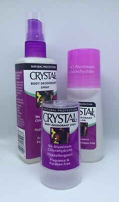 ✅CRYSTAL BODY Deodorant Value Pack Spray/Roll-on/Stick Natural Fragrance Free